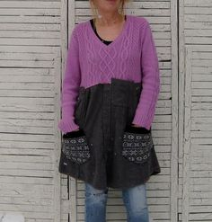 Upcycled Sweater Tunic L/XL, Recycled Sweaters, Casual Tunic, Pink, Women