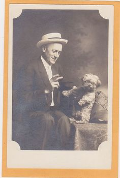 Studio Real Photo Postcard RPPC - Man w/ Cigar and Small White Dog Bichon Frise?