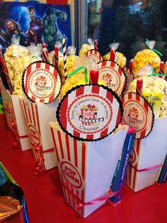 Movie theme party favors- with the Thank You tags taped to a candy stick :)