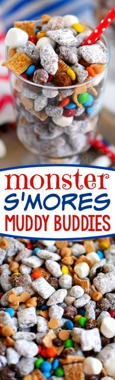 [original_tittle] – Trish – Mom On Timeout [pin_tittle] These Monster S'mores Muddy Buddies are the ultimate snack mix! Filled with all sorts of goodies like roasted almonds, peanut butter, and marshmallows – this sweet treat is hard to resist! Puppy Chow Recipes, Snack Mix Recipes, Yummy Snacks, Dessert Recipes, Yummy Food, Healthy Snacks, Snack Mixes, Healthy Dishes, Tasty