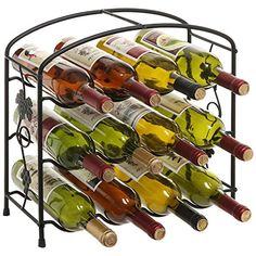Modern Grapevine Design Black Freestanding Metal 12 Bottle Wine Storage Shelf Rack  3Tier Wine Holder * Click image for more details.