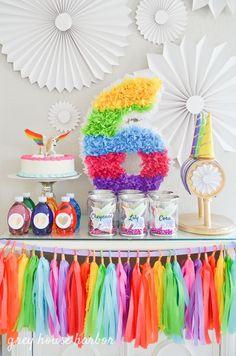 Unicorn Party ~ Rainbow Pegacorn (Pegasus + Unicorn) Birthday Party from Grey House Harbor