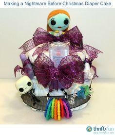 This is a guide about making a Nightmare Before Christmas diaper cake.For a new mom-to-be, who is also a fan of the Tim Burton movie, a Nightmare Before Christmas themed diaper cake is an outstanding gift.
