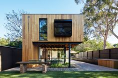 Architecture studio tenfiftyfive have recently completed a wood, glass and steel addition to an old heritage house in Melbourne, Australia. Photo by Christine Francis.