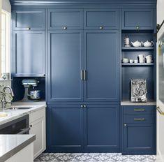 Tall Kitchen Cabinets, Blue Cabinets, Blue Storage Cabinets, Island Kitchen, Tall Cabinet Storage, Kitchen Corner, New Kitchen, Kitchen Small, Very Small Kitchen Design