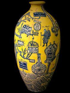 Grayson Perry (b. The Rosetta Vase, © Grayson Perry. Contemporary Ceramics, Contemporary Art, Sculpture Art, Sculptures, Ceramic Artists, Mellow Yellow, Art Plastique, British Museum, Ceramic Pottery