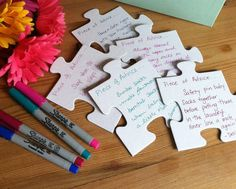 Adoption baby shower puzzle piece advice cards