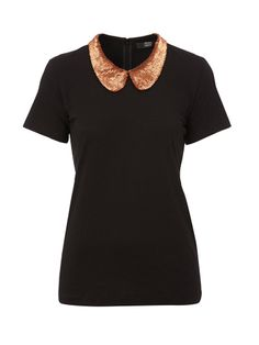 Kate Tee With Sequin Embellished Collar Markus Lupfer, Sequins, My Style, Tees, Collection, Women, T Shirts, Teas, Shirts