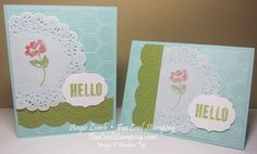 Stampin' Up Oh Hello, Large Scallop edgelit, Delicate Details E F, Honeycomb E F, Labels Collection Framelits, in Pool Party Core'dinations, Lucky Limeade (May 3, 2013)