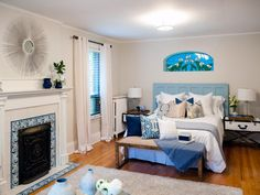 Painting out the wood in Cameron and Krystal's bedroom as well as removing the dark wood furniture creates an open and peaceful retreat. The new light furniture pieces brighten the space and additional storage reduces the chaos, as seen on Buying and Selling.