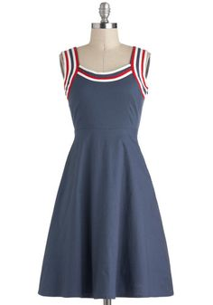 blue dress with red, white, and blue striped trim - Red Haute American Summer Dress, #ModCloth