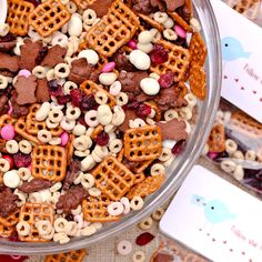 valentine trail mix recipe    ingredients:  4 cups miniature pretzels  4 cups strawberry yogurt cherrios (or favorite cereal)  3 cups (1 box) chocolate teddy grahams  2 cups dried cherries or cranberries  2 cups yogurt covered raisins  2 cups valentine m