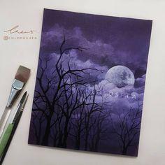 "9,327 Likes, 60 Comments - Chloe O'Shea (@chloeoshea) on Instagram: ""Happy Halloween Hope you guys had a great day! _____ -Acrylic paint on A4 Canvas board"""