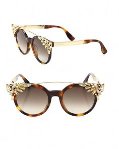 Jimmy Choo Brown Vivy/S Crystal Round Clip Sunglasses Louis Vuitton Evidence Sunglasses, Louis Vuitton Sunglasses, Gucci Sunglasses, Sunnies, Jimmy Choo Sunglasses, Clip On Sunglasses, Black Sunglasses, Funky Glasses, Cat Eye Glasses