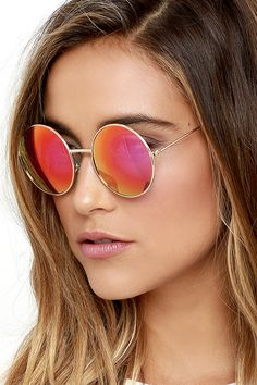 4bc6c904b1e Totally Buggin  Gold and Pink Mirrored Sunglasses