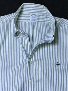 Men's Brooks Brothers Striped Button Down Oxford Shirt Size Large | eBay