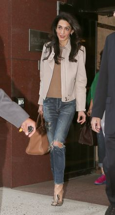 Amal Clooney in Citizens of Humanity Corey Jeans in Bourbon