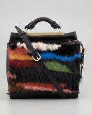 3.1 Phillip Lim Ryder Small Fur Crossbody Satchel in Black (multi colors)