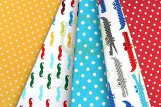 Moustache & crododiles cotton fabric set with polka dots / Bawełna wąsy, krokodyle i groszki