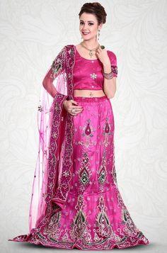 Pink Net Embroidered Bridal Lehenga With Beads Work Sarees Online India, Lehenga Choli Online, Lehenga Style Saree, Bridal Lehenga, Heavy Lehenga, Ghaghra Choli, Latest Sarees, Half Saree, Saree Collection
