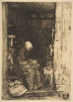 James McNeill Whistler (1834–1903). La Vielle aux Loques, 1858, Etching and drypoint; printed in black ink on cream Japan paper, 8 1/4 × 5 13/16 in. The Metropolitan Museum of Art.
