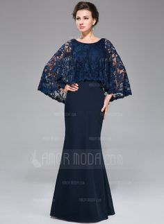 Mermaid Scoop Neck Floor-Length Chiffon Lace Mother of the Bride Dress With Beading Sequins (008025715)