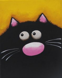 Original acrylic painting canvas whimsical pet animal kitty Fat Black Cat yellow #WhimsicalCatPainting