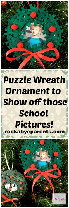 This puzzle wreath ornament is easy to make and is an adorable way to show off those school pictures or any picture that you want (furry friends would be cute too!). This Christmas ornament makes a great kid craft. I first made one myself in school during our holiday Christmas party.