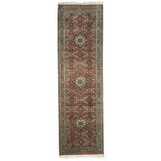 Handmade Rectangular Persian Bijar Runner Area Rug in Red with Blue Accents, 2x9 area rugs