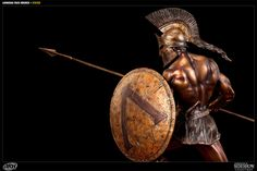 Sideshow Collectibles is proud to present the Faux Bronze Leonidas statue from ARH Studios. Presented with a striking faux bronze finish, the famed Spartan hero Greek Warrior, Fantasy Warrior, Leonidas Sparta, Soldier Tattoo, Spartan Tattoo, Roman Warriors, Polynesian Tattoo Designs, Spartan Warrior, Spiritual Warrior