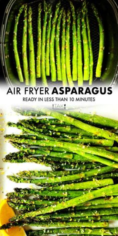 This easy Air Fryer Asparagus has the perfect tender-crisp bite and is ready (prep time and all) in just 10 minutes! It's a healthy and quick vegetable side dish perfect for weeknight dinners yet elegant enough for a dinner party! Top it off with a squeeze of lemon and a fresh grating of parmesan cheese for an extra special touch! Potluck Recipes, Side Dish Recipes, Casserole Recipes, Cooking Recipes, Healthy Side Dishes, Vegetable Side Dishes, Vegetable Recipes, Barbecue Side Dishes, Vegetable Casserole