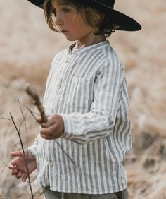 Longsleeve button-down shirt in our blue stripe with chest pocket. Made of cotton yarn dye Cute Kids Fashion, Baby Girl Fashion, Toddler Fashion, Child Fashion, Dogs And Kids, My Little Baby, Mock Neck, Toddler Boys, Kids Outfits