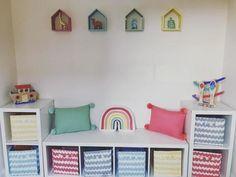 Ikea Kids Playroom, Living Room Playroom, Colorful Playroom, Toddler Playroom, Playroom Design, Playroom Decor, Kids Room Design, Toy Room Storage, Girls Bedroom Storage