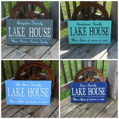 Personalized Family Lake House Sign - Lakehouse Name - Wood  Wooden Sign - Hand Painted Personal Custom Rustic Wall decor - Cabin Lodge - pinned by pin4etsy.com