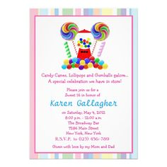Candyland Glitter Candy Sweet 16 Invitation Candy theme Candyland