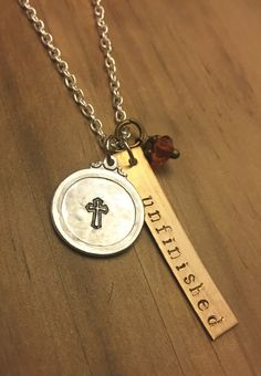 Unfinished necklace, hand stamped, christian, spiritual jewelry by JustStampItGifts on Etsy https://www.etsy.com/listing/262116750/unfinished-necklace-hand-stamped