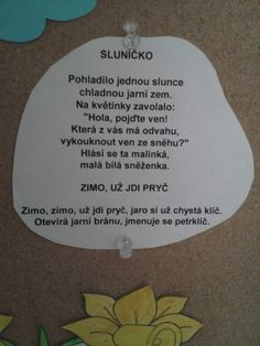 jarní básničky - Hledat Googlem Aa School, School Clubs, Kids Songs, Spring Crafts, Montessori, Kindergarten, Jar, Teaching, Activities