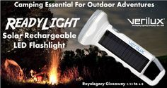 Royalegacy Reviews and More: ReadyLight Solar Rechargeable Flashlight - The Outdoor Adventure Camping Essential from #Verilux - Review & Giveaway - ends 6/8/15 US