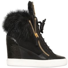 GIUSEPPE ZANOTTI 90mm Beaver & Shearling Wedge Sneakers ($1,195) ❤ liked on Polyvore