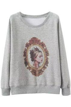 Classic Beauty Light #Grey #Sweatshirt - OASAP.com Free Shipping+$15 Coupon!