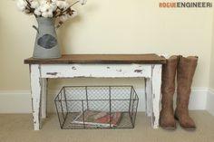 Small Entry Bench  - Free DIY Plans | http://rogueengineer.com/ #DIYFurniturePlan #EntryBench