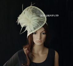 Ivory cream Dress Sinamay feather fascinator hat  1448290184 ALIFASCR/005