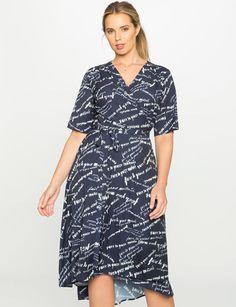 Printed Elbow Sleeve Wrap Dress from eloquii.com