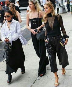 Street style leather pant black