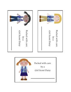 Very cute printable tag/inserts for candy, nut, cookie orders before delivery!      Free Download from Girl Scout Printables: Packed with Care by a Girl Scout Daisy
