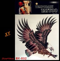 Sexy eagle warrior body art tattoo arm temporary tattoos waterproof fake tattoo set of male chest decals #Affiliate
