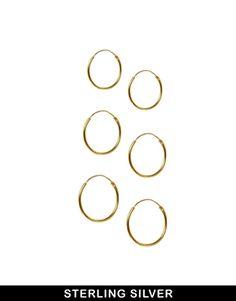 ASOS Multipack Gold Plated Sterling Silver Hoop Earrings
