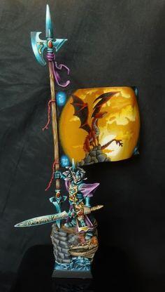 Warhammer FB | High Elves | Battle Standard Bearer #warhammer #ageofsigmar #aos #sigmar #wh #whfb #gw #gamesworkshop #wellofeternity #miniatures #wargaming #hobby #fantasy