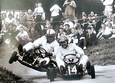 Tough competition between Bruce McLaren and Jack Brabham even in Karts