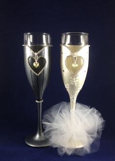 Wedding champagne glasses bride and groom by AutumnFreckleDesigns
